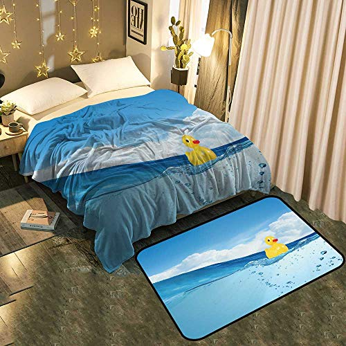 (UNOSEKS-Home A Blanket and A Floor Mat Set Yellow Rubber Duck Toy Floating in Water Chic Pattern Anti-Static Blanket 50