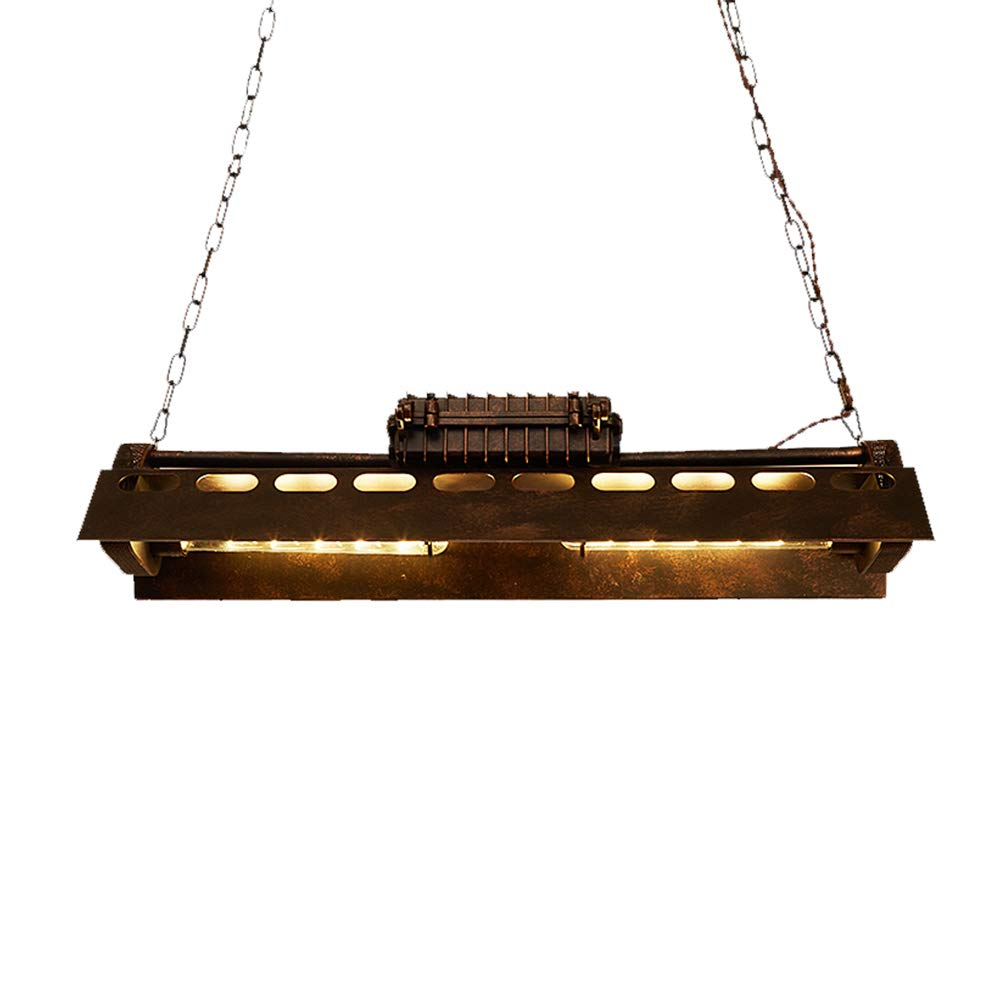 Windsor Home Deco Loft Industrial Hanging Pendant Chandelier, Wrought Iron Rectangle 4-Light Edison Ceiling Pendant Lights Fixture for Dining Room Restaurant Bar Art Lighting