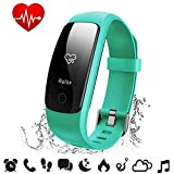 Fitness Tracker Heart Rate - COOLEAD ID107Plus HR Music Control Remote Shoot Activity Tracker - GPS Pedometer Sleep Monitor - Waterproof Bluetooth Smart Bracelet Wristband for Android IOS Phone(Green)