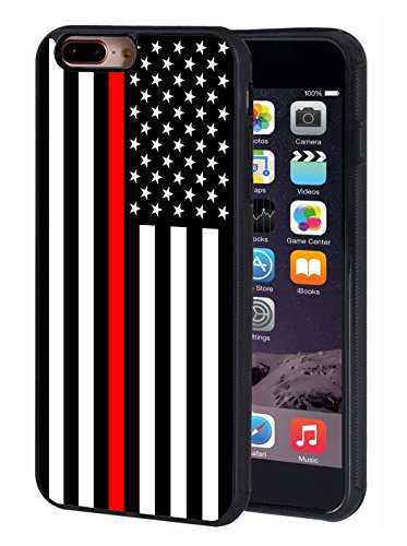 iPhone 7 Plus Case,iPhone 8 Plus Case,BWOOLL Thin Red Line American Flag TPU Protective Cover for Apple iPhone 7 Plus/iPhone 8 Plus (5.5 inch)