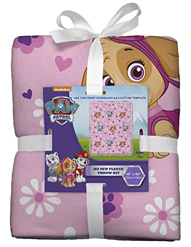Paw Patrol Gals No-Sew Throw Anti-Pill Fleece Fabric Kit by David Textiles