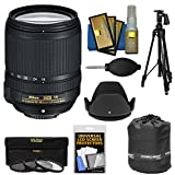 Nikon 18-140mm f/3.5-5.6G VR DX ED AF-S Nikkor-Zoom Lens with 3 UV/CPL/ND8 Filters + Pistol Grip Tripod + Pouch Kit for Digital SLR Cameras