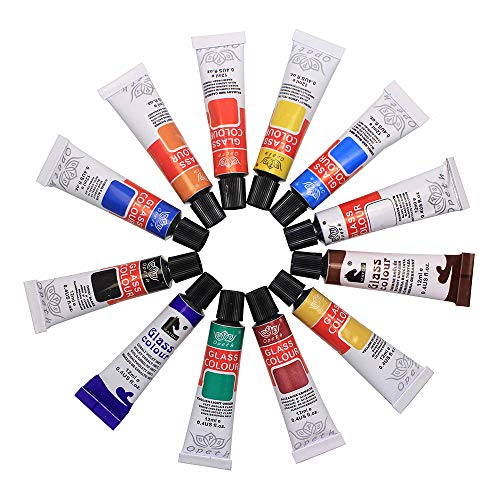 Bearals Glass Paint, Glass Painting, Non-Toxic Window Paint, Glass Paints for Wine Glasses, Light Bulbs, Ceramic, Plate, Vase and DIY Painting (12x12ml)