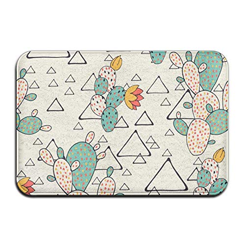 (Prickly Pear Cacti and Triangles,Anti Slip Machine Washable Door Mat Home Decor Rug Welcome Doormat Thicken Playmat Multi-purpose Floorcover 31.5(L) X 19.7(W) Inch)