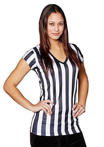 Mato & Hash Womens Referee Shirts | Comfortable V-Neck Ref Shirt for Waitresses, Refs, More! - 2PK Black/White XL ()