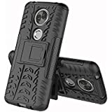 Spazy Case Hybrid Armor Design Detachable And Stand-Up Feature Dual Layer Protective Shell Hard Back Case For Moto E5 Plus-Space Black