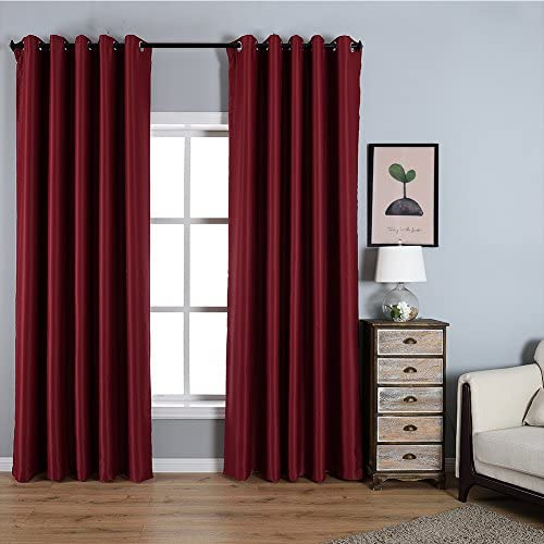 Dreaming Casa Solid Room Darkening Blackout Curtains for Bedroom Draperies Window Treatment 2 Panels Burgundy Grommet Top 2 100 W x 102 L