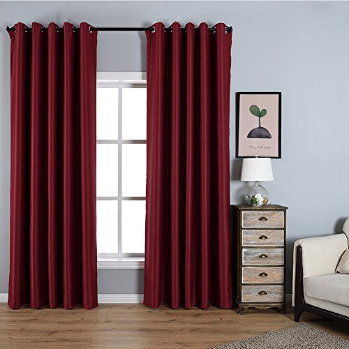 Dreaming Casa Solid Room Darkening Blackout Curtains For Bedroom Draperies Window Treatment 2 Panels Burgundy Grommet Top 2(52
