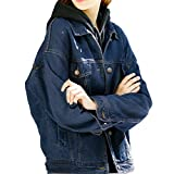 Loose Women Dark Blue Washed Pocket Button Boyfriend Denim Jacket Coat(L-Chest 44'', Dark Blue)