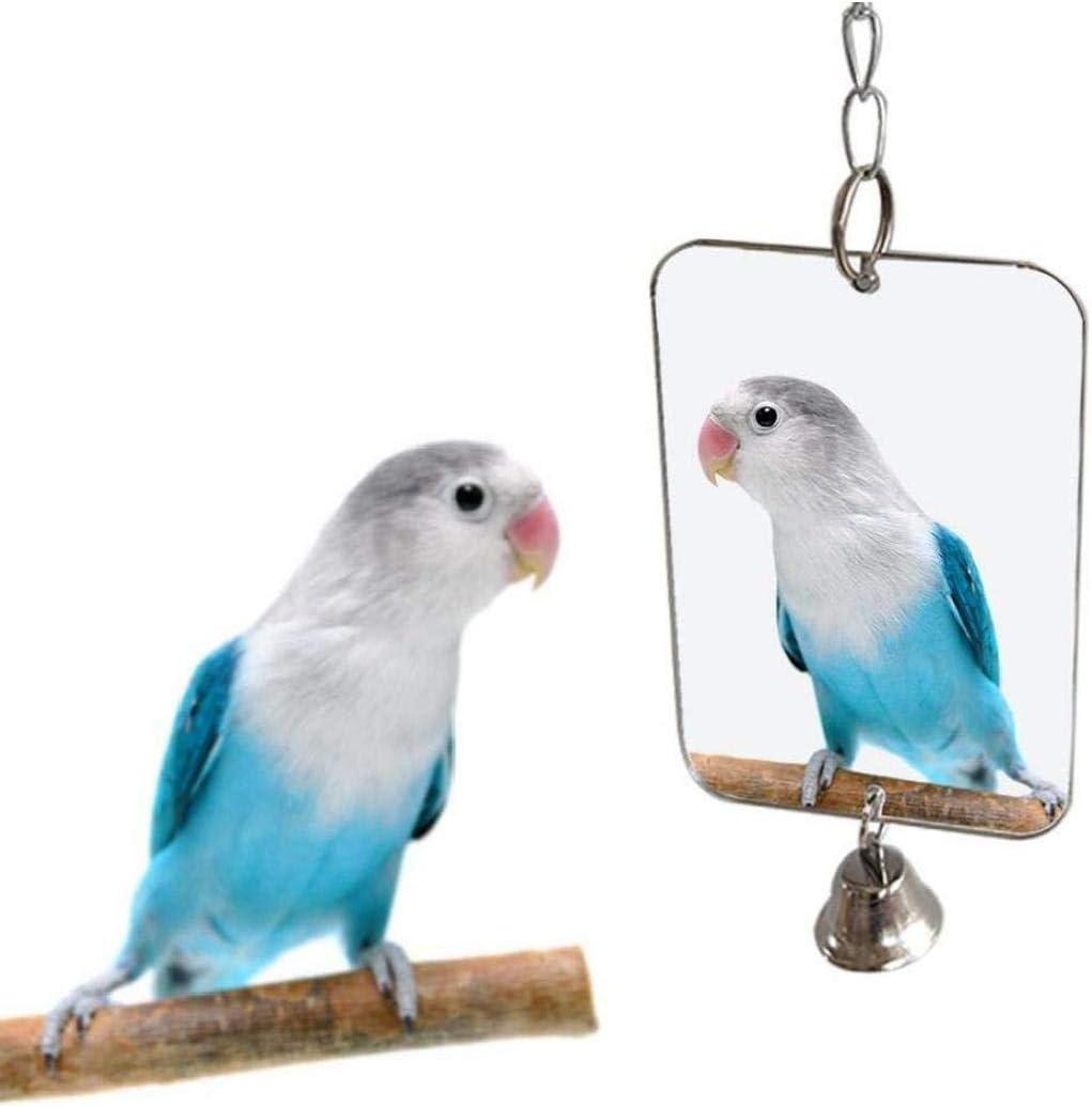 LAVALINK Accesorios De Aves Loros P/ájaro del Loro Perico Juguetes Espejo Colgado De Bell Juega Suministros Juguete para Mascotas Jaula Decoraci/ón