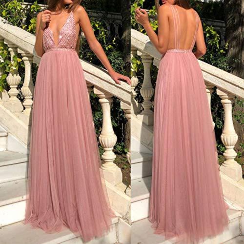 (WensLTD Women's Chiffon Sequined Sweetheart Long Wedding Party Prom Dress (S, Pink))
