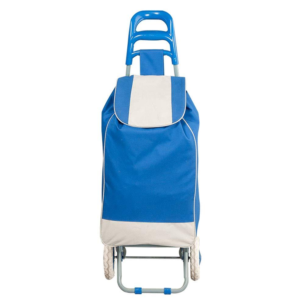 ZHAOHUI ショッピングカート 防水 折りたたみ可能 フォームホイール 鉄骨 オックスフォード布 軽量 家庭、 2色 (色 : 青) B07L9ZLDZ9 青
