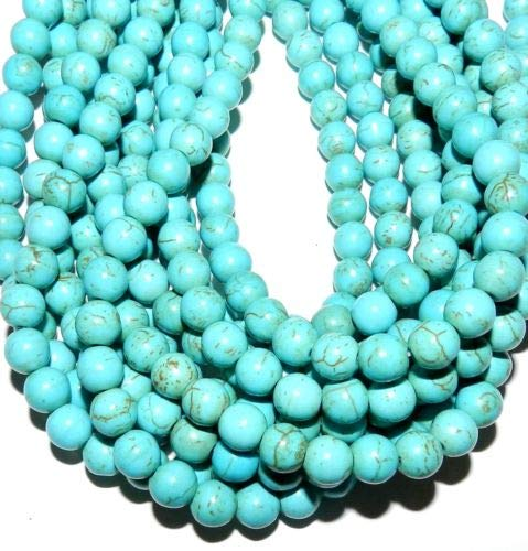 GR610f5 Blue Turquoise 8mm Round Magnesite Gemstone Beads 16'' Crafting Key Chain Bracelet Necklace Jewelry Accessories Pendants