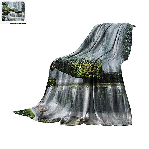 Waterfall Lightweight Blanket Majestic Waterfall Blocked with Massive Rocks with Moss on Them Photo Velvet Plush Throw Blanket 50