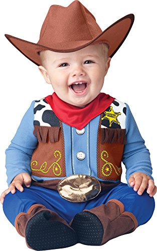 InCharacter Baby Boy's Wee Wrangler Cowboy Costume, Tan/Blue, M -