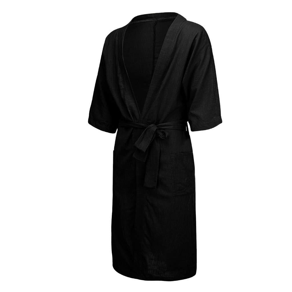 Litetao Long Hooded Plush Collar Shawl Warm Bathrobe Mens Fleece Solid Colored Robe