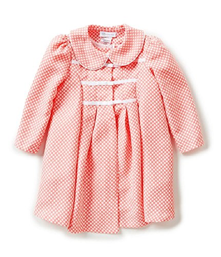 Bonnie Baby Baby Check Jacquard Ribbon Trim Dress and Coat Set, Coral, 3-6 Months (Jacquard Coat Dress)