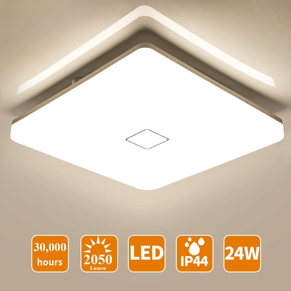 Öuesen Lámpara de techo LED 24W IP44 2050lm Plafón LED Moderno ...
