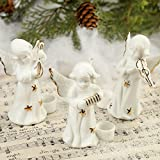 Package of 12 Sweet Porcelain Musical Angel Candle Holders for Fall, Halloween and Thanksgiving Decorations
