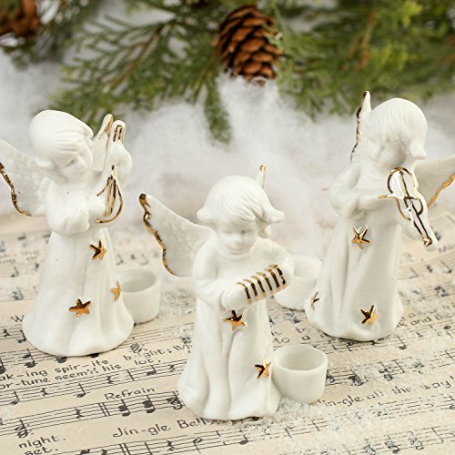 Factory Direct Craft Package of 12 Sweet Porcelain Musical Angel Candle Holders for Fall, Halloween and Thanksgiving Decorations ()