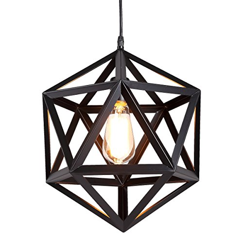 HOMIFORCE Vintage Style 1 Light Black Geometric Pendant Light with Metal Shade in Matte-Black Finish-Modern Industrial Edison Style Hanging for Kitchen Island,Close to Ceiling (Olbers (Matte Black Kitchen Island)