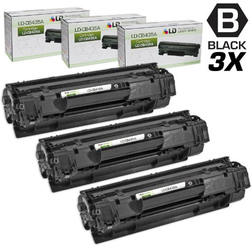 LD © Compatible Replacement Laser Toner Cartridges for Hewlett Packard CB435A (HP 35A) Black (3 Pack) for use in HP Laserjet P1002, P1005 & P1006 Printers