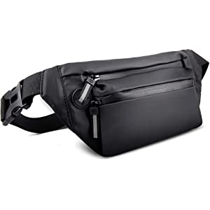 NIANYISO ウエストポーチ メンズ レディース ウエストバッグ ファスナーまで防水 耐久性 5つ仕切り ショルダーバッグ 6.5インチまでスマホに対応 軽量 ボディバッグ アウトドア 旅行 ランニング 仕事