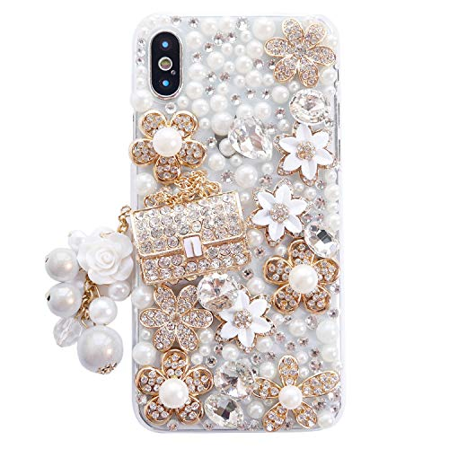 iPhone X Case, iPhone Xs Case, DMaos Cute Girl Handbag Design Rhinestone Snow Flower Clear Cover Bling Diamond, for iPhone 10s 2018 / iPhone 10 2017 5.8 inch
