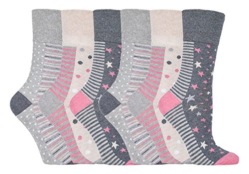 Get Top Marketing Women's Non Elastic, Gentle Grip, Diabetic Socks (6 Pair Pack, GG92)