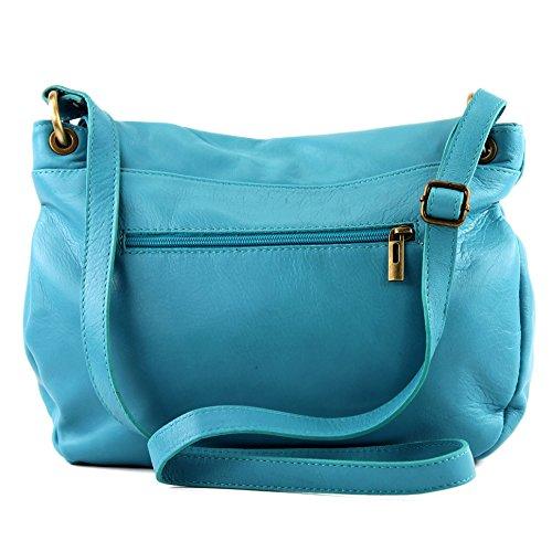 Damentasche modamoda Sky Blue Nappaleder de Ledertasche Umhängetasche Medio ital Schultertasche Handtasche grande Ledertasche T40 OxO7qt1