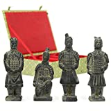This green silk gift box encloses four replicas of the Terra Cotta Warriors, each with a unique and distinctive face. Originally commissioned over two millennia ago by China's first emperor Qin Shi Huang, it took over 700,000 laborers more 36...