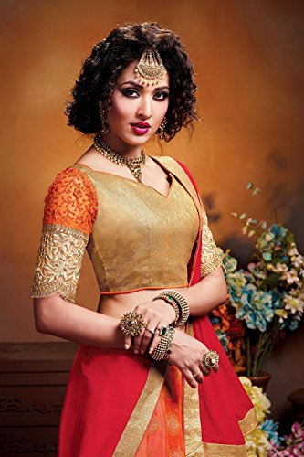 Indian Women Designer Wedding Orange Lehenga Choli Fabz-2597