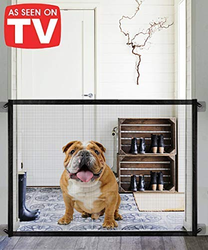 Queenii Magic Gate for Dogs, Pet Safety Gate, Portable Folding Mesh Magic Gate, Safe Guard Install Anywhere, Safety Fence for Hall Doorway Wide Tall (Black) by Queenii