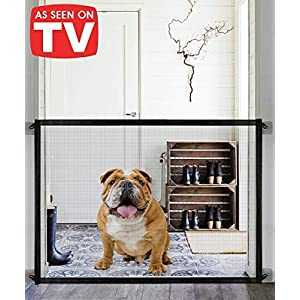 Queenii Magic Gate for Dogs, Baby Gates Pet Safety Gate, Portable Folding Mesh Magic Gate Baby Safety Gates, Safe Guard Install Anywhere, Safety Fence for Hall Doorway Wide Tall (Black)