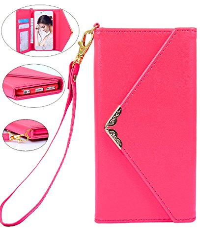 Handheld Evening Bag (iPhone 6/6s Purse Case Fashion Envelop Design handheld Filp Folio Wallet Leather Cover with Wrist Strap for With-it Girl, Modern Lady, Muniton Women)