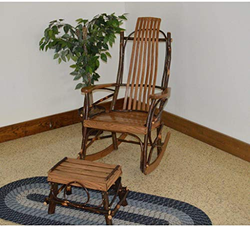 A & L Furniture Co. Amish Bentwood. 7-Slat Hickory Rocking Chair with Foot Stool Set - Ships Free in 5-7 Business Days (Chair Stools Hickory)