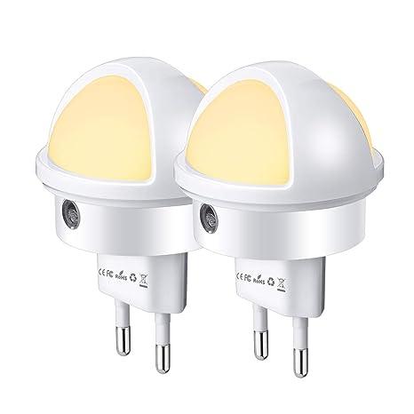 Luz Nocturna LED, SOLMORE Lámpara Nocturna Infantil 2 Pack Lámpara Empotradas Automática con Sensor de