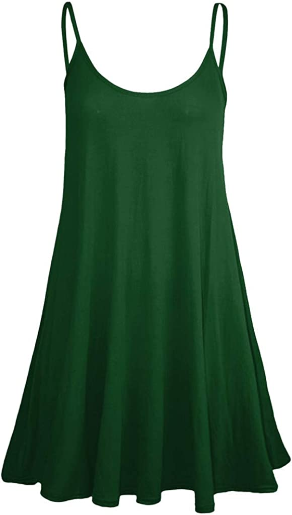 Sinfu Womens Sleeveless Solid Color Tank Top with Adjustable Mini Beach Swing Dress