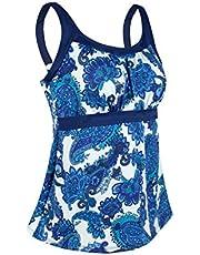 JINXUEER Women's Plus Size Swimsuit Floral Tankini Top Vintage Swimwear
