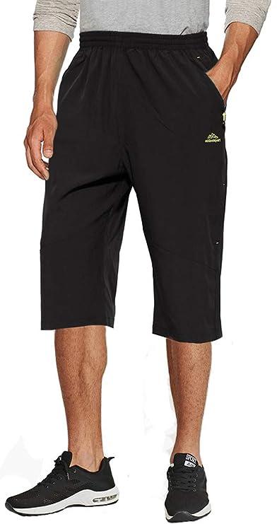 TACVASEN Herren Outdoor Lange Shorts 3/4 Cargo Schnell Trocknende Shorts mit Reißverschlusstasche