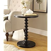 Black Finish Wooden Round Spindle Chair Side End Table