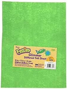 "Darice FLT-0534 Glimmer Felt Sheet, 9 by 12"", Kelly Green"