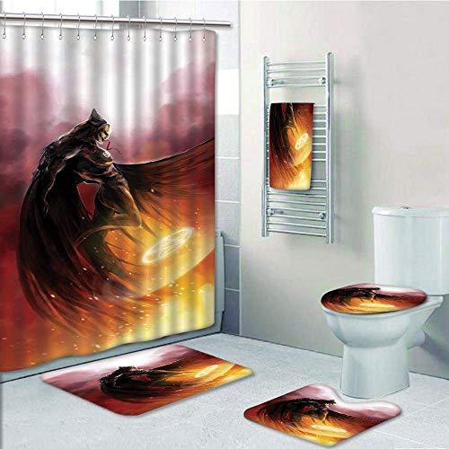 Bathroom 5 Piece Set shower curtain 3d print Customized,Fantasy World,Superhero in His Original Costume Flying Up Magic Flame Save the World Theme,Yellow Red,Bath Mat,Bathroom Carpet Rug,Non-Slip,Bath