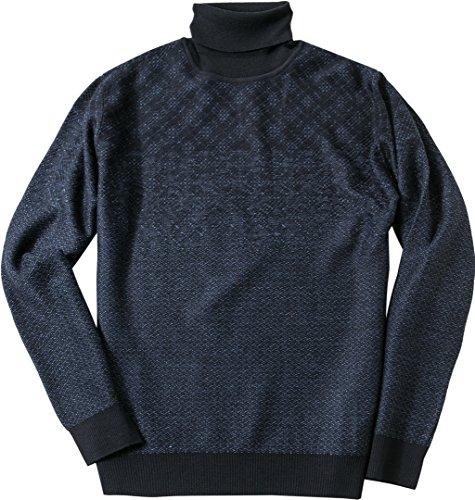 bugatti Herren Pullover Schurwollmix Sweater Gemustert, Größe: M, Farbe: Blau