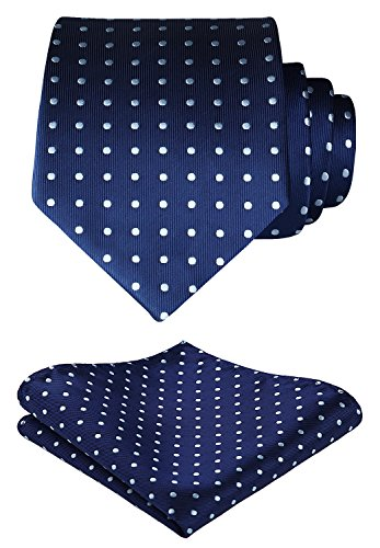 Navy Blue Polka Dot - SetSense Men's Polka Dot Jacquard Woven Tie Necktie Set 8.5 cm / 3.4 inches in Width Navy Blue