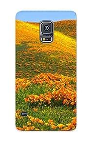Cute High Quality Galaxy S5 Orange Poppy Field Case