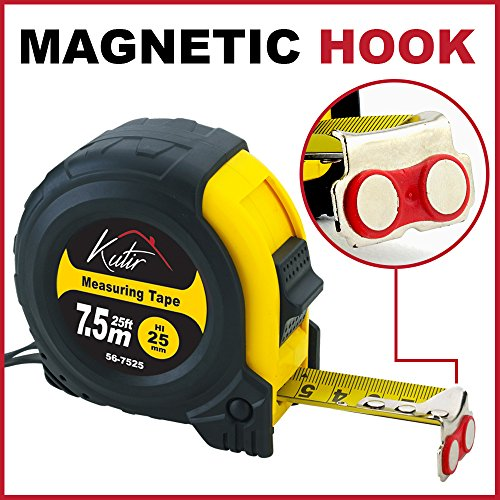 Measuring Tape Measure by Kutir - 25 Foot Retractable Heavy Duty with (Shock Resistant Tape Measure)