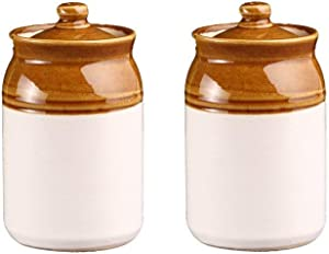 Ceramic Handmade Pickle Jar Set with Lid, Dining Table Pickels Containers and an Ideal Gift for Family Set of 2 large