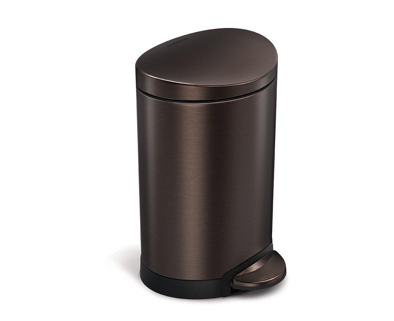 simplehuman 6 Liter / 1.6 Gallon Stainless Steel Compact Semi-Round Bathroom Step Trash Can, Dark Bronze Stainless Steel