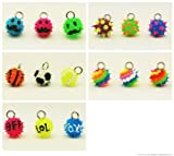 NEW Coolzips Fun Charms for Rainbow Loom Bracelets- Sports, Texting, Swirls, Spikes and Mustache Charms- (15 mixed charms)